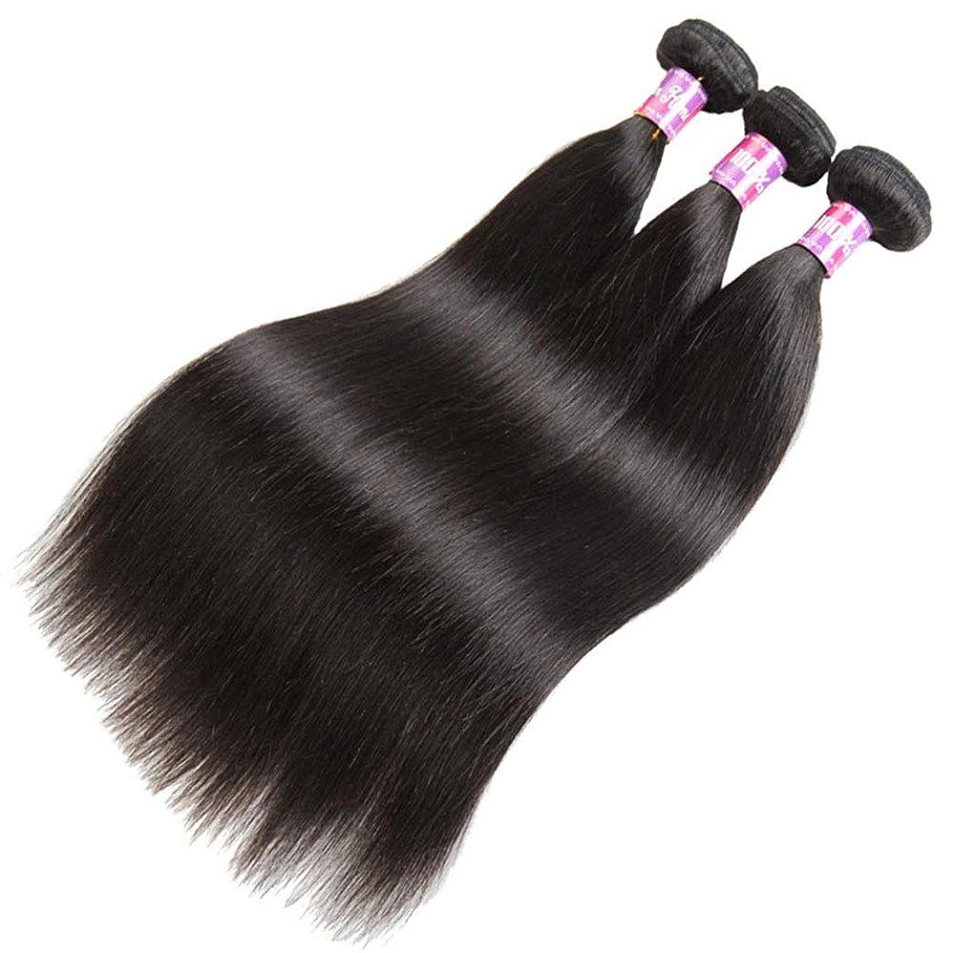 紳士気取りの、きざな育成優先BOBIDYEE ブラジルのストレート人間の髪バンドル絹のようなストレートバージン人間の髪織りエクステンションナチュラルブラック(12インチ-26インチ)女性複合かつらレースかつらロールプレイングかつら (色 : 黒, サイズ : 14 inch)