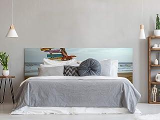 Cabecero Cama PVC Impresión Digital Inscripciones Madera en Playa Multicolor 150 x 60 cm | Disponible en Varias Medidas | Cabecero Ligero, Elegante, Resistente y Económico