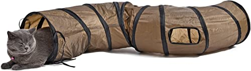 Cat Toys Interactive,PAWZ Road Collapsible Tunnel for Bunnies, Kittens, Ferrets and Small Dogs with Two peek-a-Boo Ho...