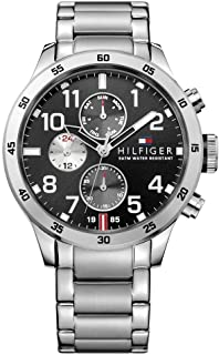 Tommy Hilfiger Silver Stainless Black dial Watch for Men's 1791141