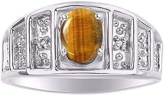 RYLOS 14K White Gold Birthstone Ring with Oval Shape Gemstone & Genuine Sparkling Diamonds - 7X5MM Color Stone