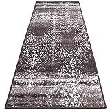 Vintage Teppichläufer | im angesagten Shabby Chic Look | hochwertige Meterware, gekettelt | Kurzflor Teppich Läufer | Küchenläufer, Flurläufer (Braun,80x100 cm)