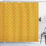 ABAKUHAUS Tierkunst Duschvorhang, Bienen auf Honig Combs Art, Hochwertig mit 12 Haken Set Leicht zu pflegen Farbfest Wasser Bakterie Resistent, 175x200 cm, Senf & orange