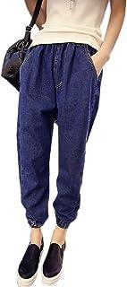 [ジルア] レディース ジョガー クロップド デニム パンツ カジュアル ズボン ウエスト ゴム #005