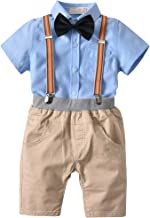 Toddler Boy Shirt and Overall, Kids Gentleman Clothing Set with Bowtie Suspender