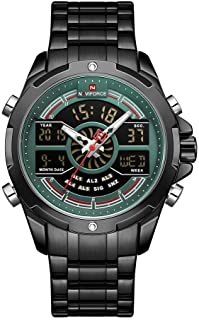 Mens Wrist Watch, Waterproof Analog Digital Watches with LED Backlight Multifunction Military Watch, Stainless Steel Busin...