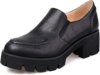 BalaMasa Womens Solid Platform Pleated Urethane Pumps Shoes APL10749
