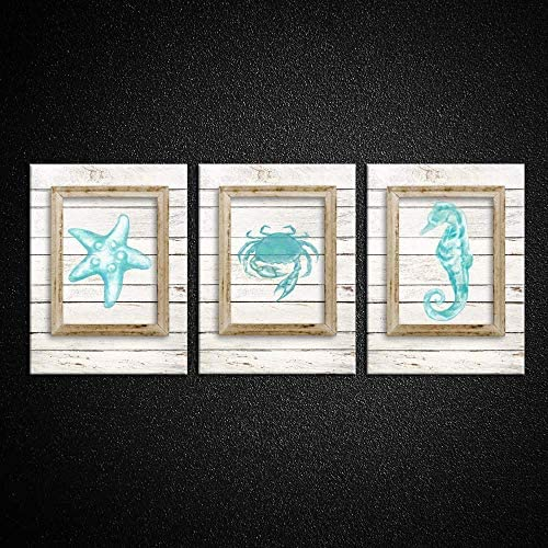 Kreative Arts Coastal Decor Teal Ocean Wall Art for the Laundry Room Starfish Seahorse and Crab product image