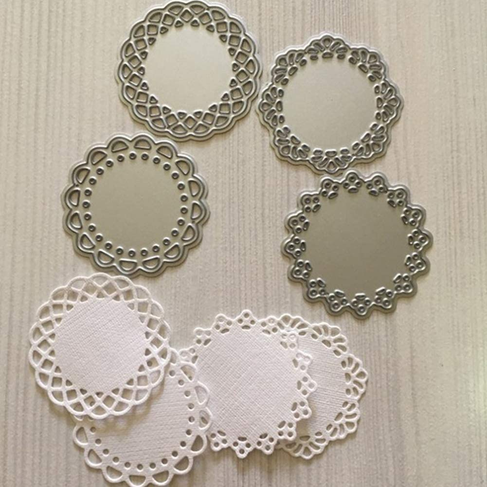 FashionSun Metal Die Cuts Set Include 4 Different Patterns Round Lace Flower Border Cutting Dies Cut Stencils for DIY Scrapbooking Photo Album Decorative Embossing Paper Dies for Card Making Template