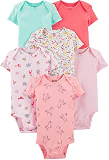 Carter's Precious Firsts Baby Girls/Boys Short-Sleeve Bodysuits 6-Pack