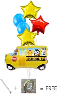 Balloon World School Bus Balloons Car Balloons Party Supplies Happy Birthday Decoration Balloons -6pack