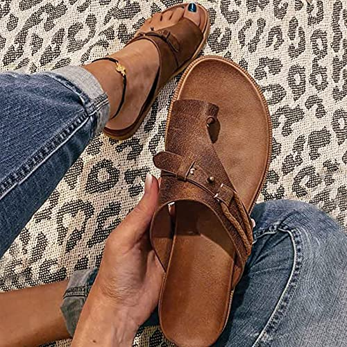 Hengyouhui Sandals New Flip Flops Beach Sandal Bunion Slippers for Women Orthopedic Correction Slides Leather Ring Toe Shoes (Brown, 10)