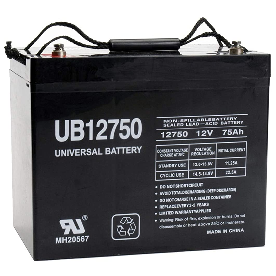 Universal Power Group UB12750 12V 75AH Internal Thread Battery for Remote Monitoring Systems