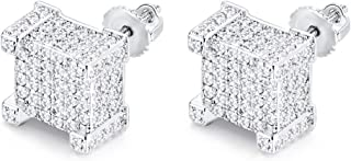 CHARLINLIOL 14K White Gold Plated Stud Earring For Men and Women With 925 Sterling Silver Screw Back