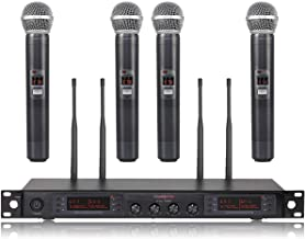 Wireless Microphone System, Phenyx Pro Quad Channel Cordless Mic Set with Metal Handheld..