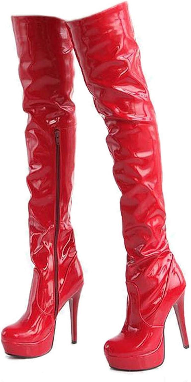 Women High Heels Tall Boots Sexy Patent Platform High Heeled Over The Knee Boots Women Boots