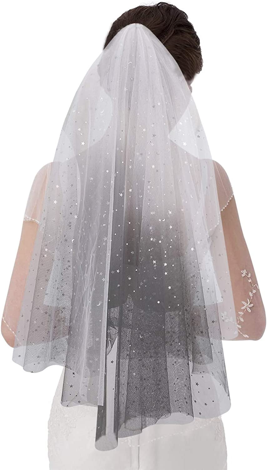 GREUS Bling Bridal Veils Halloween Costume Witch Cosplay Soft Tulle Lace Cathedral Wedding Veil