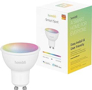 Hombli Bombilla inteligente LED Smart Spot (Wifi, GU10, 4.5W, 380 lumenes, bombilla RGB+ luz blanca cálida que cambia color, compatible con Alexa, Google Home y Siri, Controlada por la Hombli App)