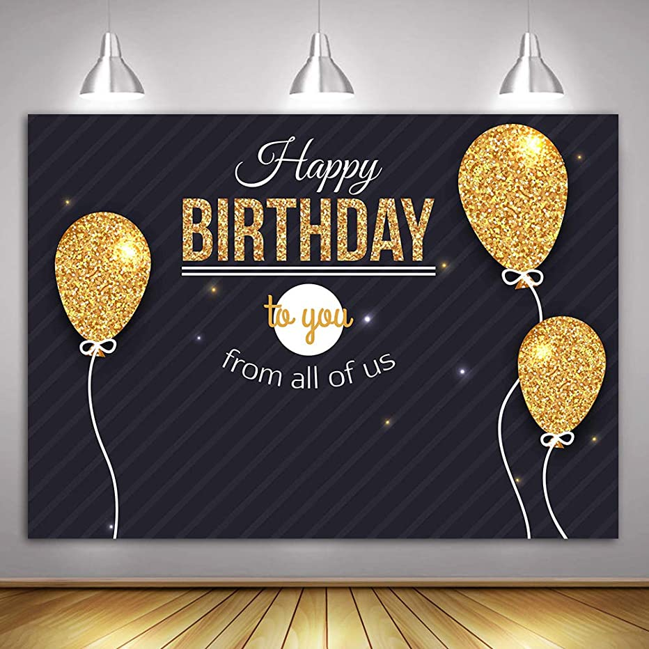 Happy Birthday Photography Background MME 10x7ft Golden Balloons Background Photo Booth Props Birthday Party Banner Decoration Background GEME877