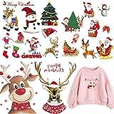 Parches para planchar de la serie de Navidad, 4 hojas, 18 unidades, parches de transferencia de calor para ropa, pantalones vaqueros y decoración de bolsas