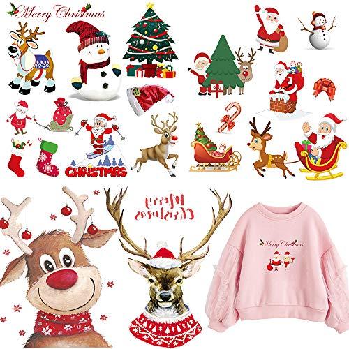 Parches para planchar de la serie de Navidad, 4 hojas, 18 unidades, parches de transferencia de calor para ropa, pantalones vaqueros y decoración de bolsas ✅