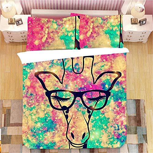 Prinbag Giraffe Bettwäsche Set Tiere Bettbezug Kissenbezug Home Textiles 2/3 Stück Kinder Bettbezug Tagesdecke 135X200Cm