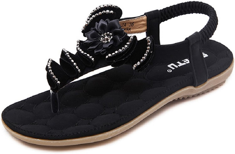 JiYe Women's Sandals Summer Beach Holiday Peep Toe T-Strap Bohemia shoes
