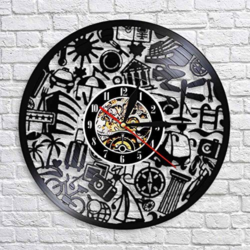 BFMBCHDJ Travel Theme Decorative Wall Clock Made Out Of Vinyl Record LP Tourism Travel Retro Black Wall Art Decorative Vintage Wall Watch With LED 12 inches