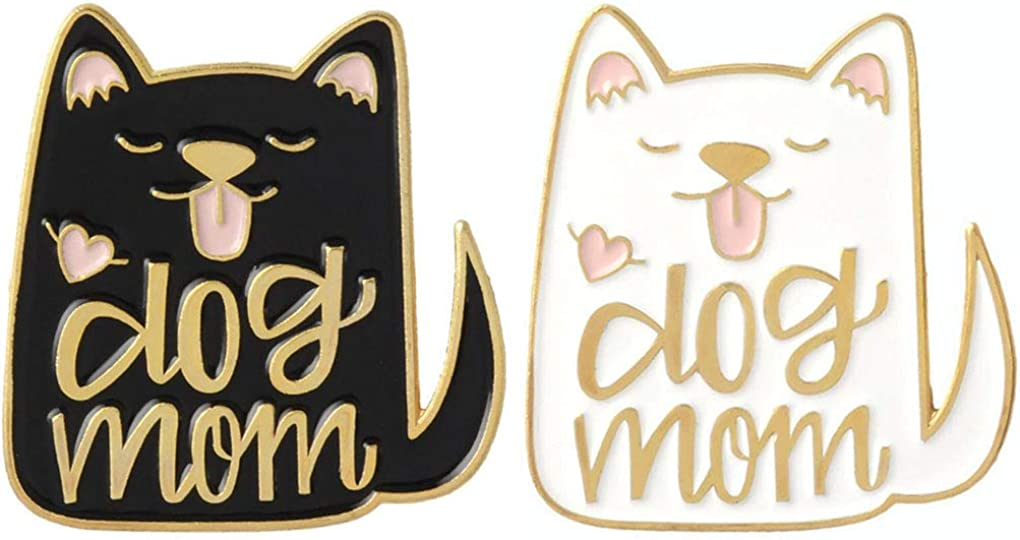 Charmart Dog Mom Lapel Pin 2 Piece Set Dog Animal Lovers Enamel Brooch Pins Accessories Badges Gifts