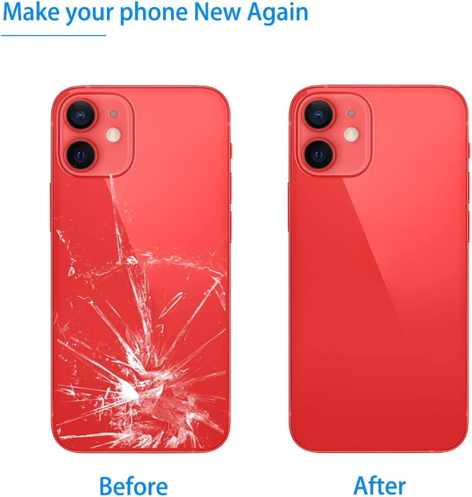 Vimour Back Cover Glass Replacement for iPhone 12 6.1-Inch All Carriers with Pre-Installed Adhesive and Repair Tool Kits (RED)