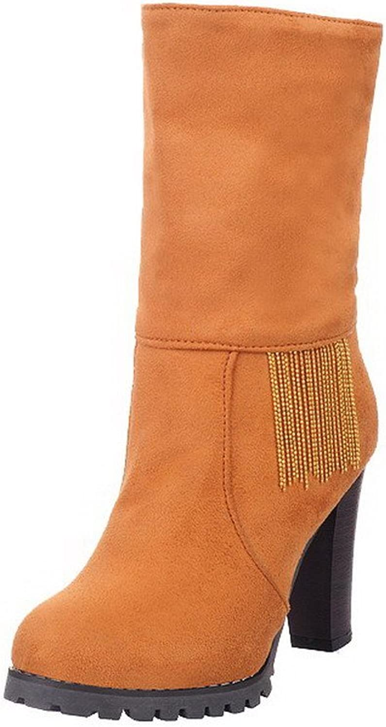 AllhqFashion Women's Round Closed Toe Low-Top High-Heels Imitated Suede Boots with Tassels