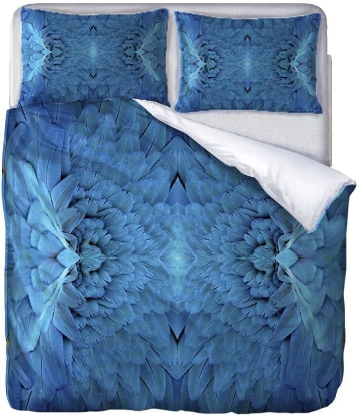 JJDSL Double Raleigh Mall Bedding Duvet Set - 155 feather Blue print x security 220 cm