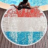 YURONG Toalla de Playa Redonda con Bandera de Luxemburgo Retro, Manta de 59 Pulgadas, Mantel de algodón, Toalla de Picnic, Esterilla de Yoga para Adultos/niños