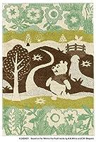 【 DISNEY プーさん 】 ディズニーラグ カーペット inthewood-r-140200 (S) DRP-1051 約140×200cm 日本製 遊び毛防止 キャラクター くまのプーさん ラグ カーペット 絨毯 防ダニ デザインラグ ブラウン グリーン