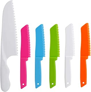 Onupgo - Lot de 4 couteaux de cuisine en plastique avec lame dentelée, pour enfant - Couteau à fruit, couteau à pain, cout...
