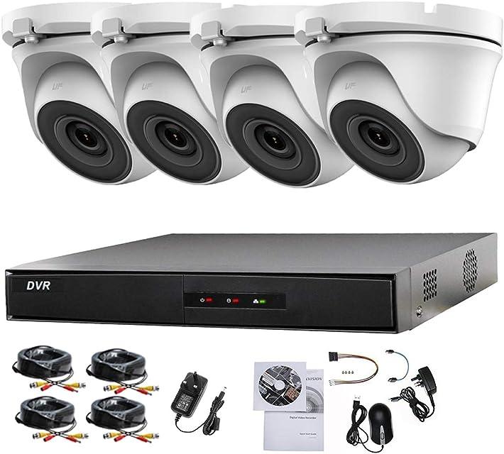 HIKVISION - Sistema de 4 cámaras de seguridad Sony 24 MP DVR 1080P Full HD cámaras domo blancas visión nocturna 20 m P2P 1 TB HDD