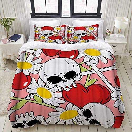 Yaoni Duvet Cover,Red Heart Skull Floral Flower,Bedding Set Ultra Comfy Lightweight Microfiber Sets