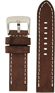 LEA1555-22 22 mm leather calfskin brown watch band.