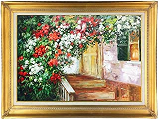 Original Floral Oil Painting of Rose Garden on Home Porch 24 X 36 Framed (4 1/2