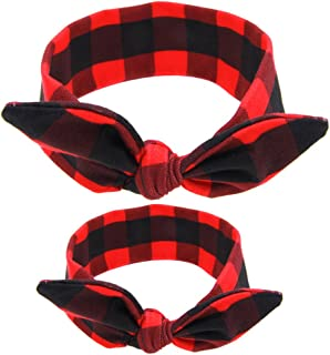 Qingsun 2Pcs Mom and Me Knotted Headband Newborn Baby Toddlers Girls Headwrap Top Knot Hairband Hair Bow 1 Set