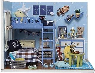 XYZMDJ Miniatyr dockhus, dockhus miniatyr gör-det-själv musik hus kit manuell kreativ med möbler för romantisk konstverk gåva