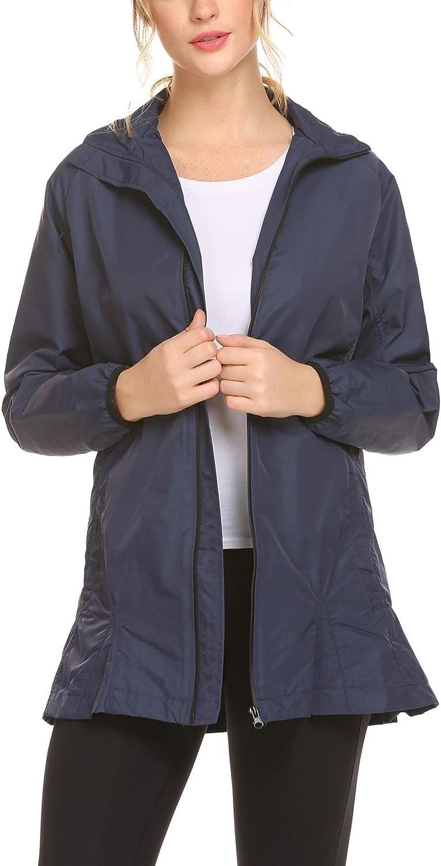 Women's Waterproof Rain Jacket Outdoor Windbreaker Jacket Sports Coat SXXL (Navy bluee, Large)