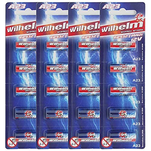 20 x A23 12V Wilhelm Alkaline Batterien MN21 V23GA 23A L1028 12 Volt 55 mAh