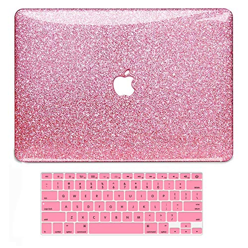 B BELK MacBook Air 13 Inch Case, B BELK Shining Bling Crystal Smooth Ultra-Slim PC Hard Case with Keyboard Cover for Mac Air 13.3(Model: A1369&A1466, Older Version 2010-2017 Release), Rose Red