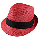 Gelante Summer Fedora Panama Straw Hats with Black Band M215-Red-S/M