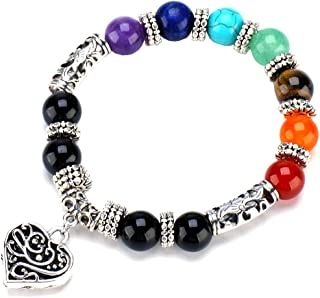 7 Chakra Pulsera Yoga Balance Healing Silver Hollow Heart 10 MM Pulseras para Mujer Chicas