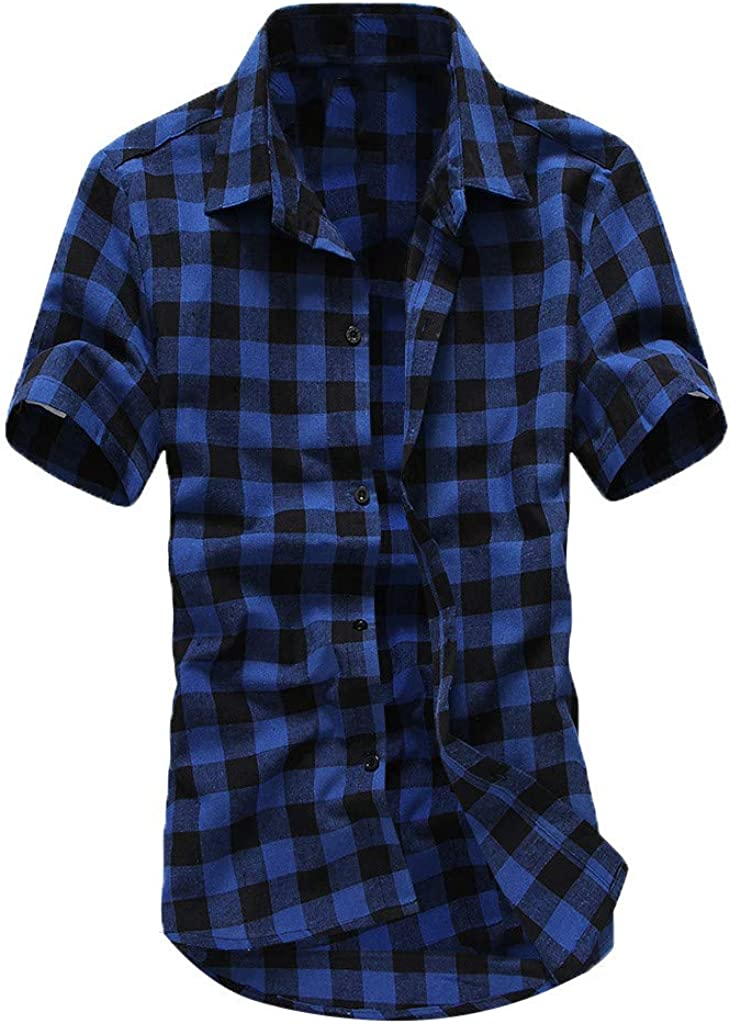 Beppter Shirts for SALENEW very popular! Men Checkered Button Fi Down Sales of SALE items from new works Slim Turn Collar