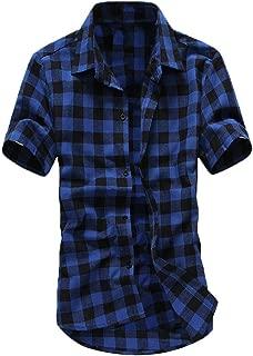 LEXUPA top for men Men's Short Sleeve Lattice Plaid Painting Large Size Casual Top Blouse Shirts