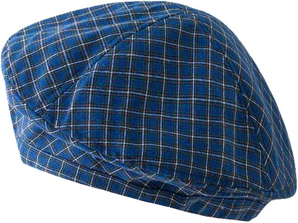 Beret Hat Chic Parisian Style Womens Adjustable Plaid Beanie Hat Lightweight Cotton Cap for Summer