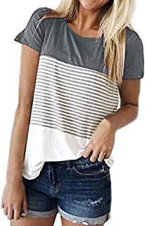 FAPIZI Womens Blouse Summer Women's Striped Short Sleeve T Shirt Fashion Color Block Casual Tee Tunic Tops